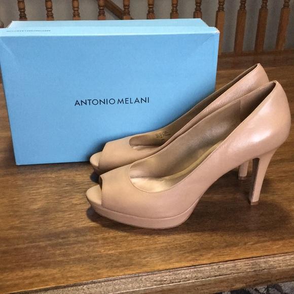 f9da0684801 Antonio Melani Patent Leather Peep Toe Flats Sz 8M My Posh Closet